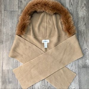 Bloomingdales Fox Fur Hooded Scarf Wrap tan New